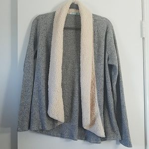 Maurices Drapey Faux Shearling Gray Sweater